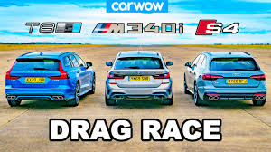 BMW M340i v Audi S4 v Volvo V60 T8  WAGON DRAG RACE
