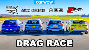 VW Golf R v BMW M135i v Audi S3 v AMG A35 DRAG RACE RESULT