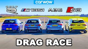 VW Golf R v BMW M135i v Audi S3 v AMG A35 DRAG RACE RESULT